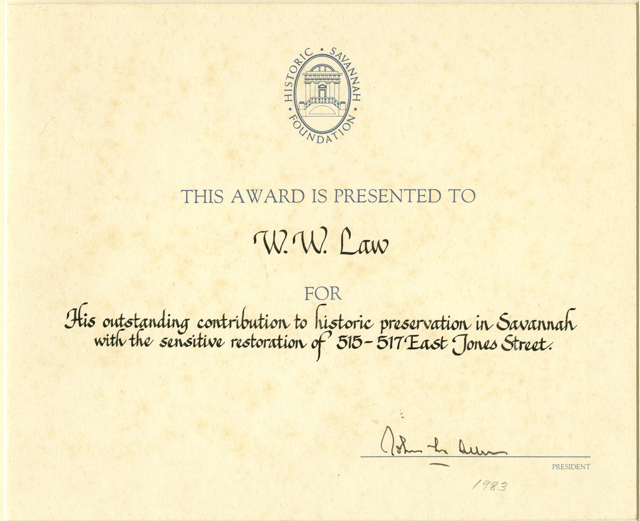 Jones Street Historic Preservation Award
