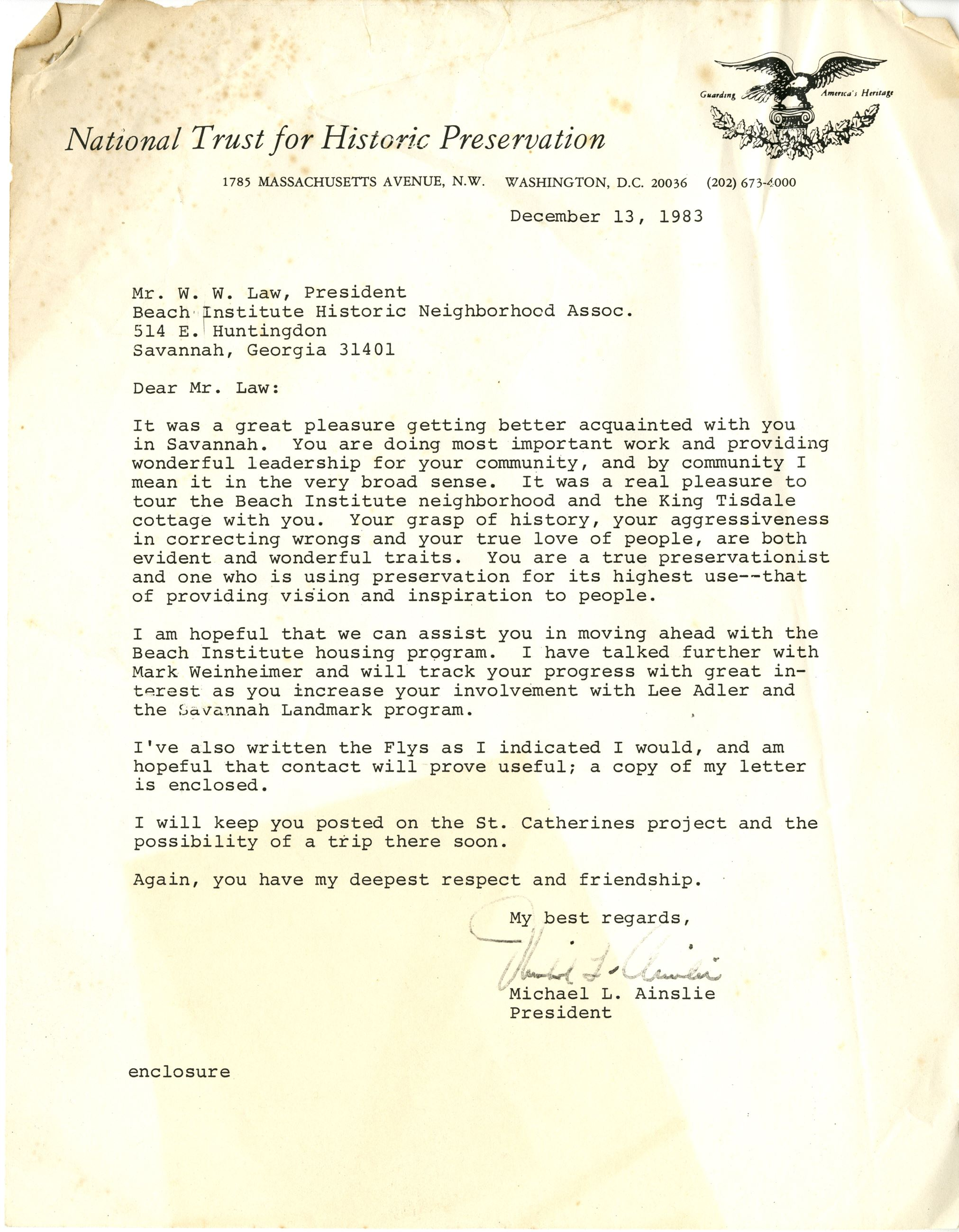 National Trust for Historic Preservation Letter