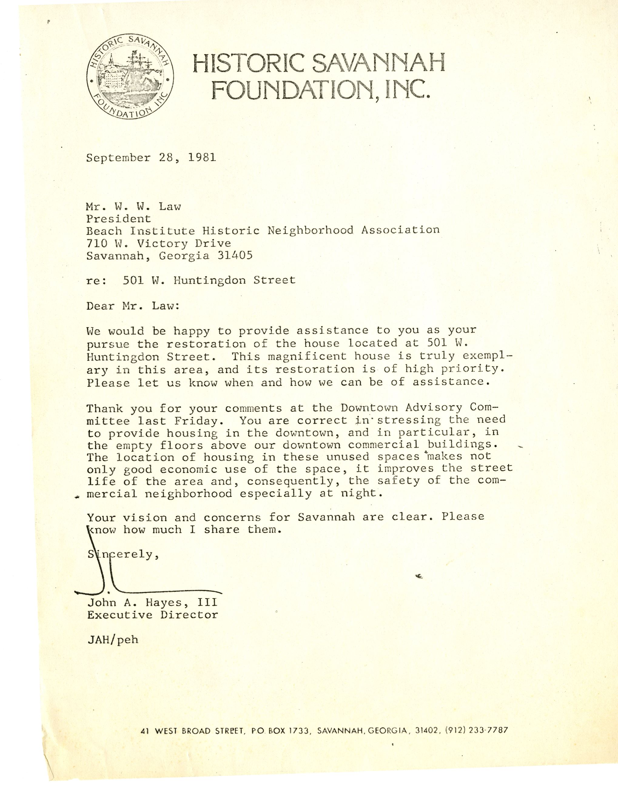 Historic Savannah Foundation Letter - need for downtown 2nd-floor housing