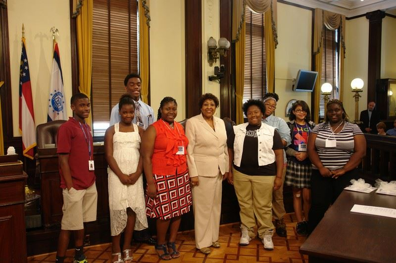 Student Artists and Mayor Jackson