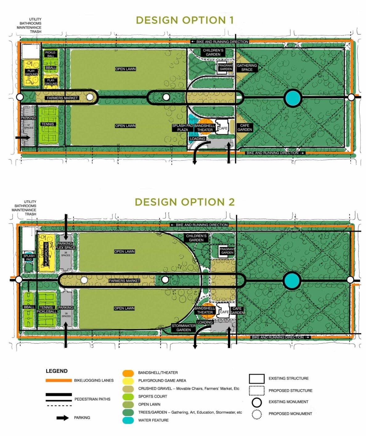 Forsyth Park Master Plan design options